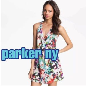 Parker NY Abstract Print Racerback Silk Dress